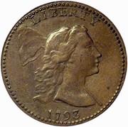 USA One Cent Liberty Cap 1793 cap KM# 13 LIBERTY coin obverse