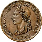 USA One Cent Washington Portrait Piece 1783 KM# Tn39 WASHINGTON & INDEPENDENCE coin obverse