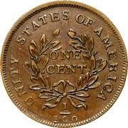 USA One Cent Washington Portrait Piece 1783 KM# Tn39 UNITY STATES OF AMERICA ONE CENT 1/100 coin reverse