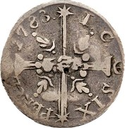 USA Six Pence 1783 KM# Tn46.1 John Chalmers SIX PENCE 17.83. I. C. coin reverse