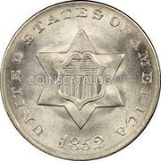 USA Three Cents Silver 3 Cents - Type 1 1852 KM# 75 UNITED STATES OF AMERICA coin obverse