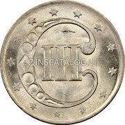 USA Three Cents Silver 3 Cents - Type 1 1852 KM# 75 III coin reverse