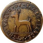 USA Three Pence Higley 1737 KM# Tn16 THE ∙ VALVE ∙ OF ∙ THREE ∙ PENCE coin obverse