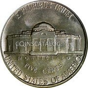 USA 5 Cents Jefferson Nickel 1940 KM# 192 E PLURIBUS UNUM UNITED STATES OF AMERICA FIVE CENTS MONTICELLO coin reverse