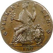 USA Copper 1787 KM# 12 Nova Eboracs VIRT. ET LIB. coin reverse