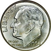 USA Dime Roosevelt Dime 1964D KM# 195 LIBERTY IN GOD WE TRUST coin obverse