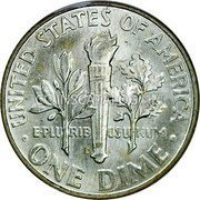 USA Dime Roosevelt Dime 1964D KM# 195 • UNITED STATES OF AMERICA • ONE DIME • E • PLURIBUS • UNUM coin reverse