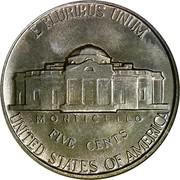 USA Five Cents Jefferson Nickel 1940 KM# 192 E PLURIBUS UNUM UNITED STATES OF AMERICA FIVE CENTS MONTICELLO coin reverse