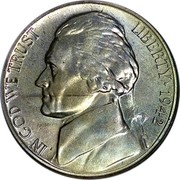 USA Five Cents Monticello 1942 P KM# 192a LIBERTY IN GOD WE TRUST coin obverse