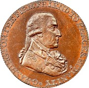 USA Halfpenny 1795 KM# Tn75.1 Washington Pieces * G.WASHINGTON THE FIRM FRIEND TO PEACE & HUMANITY coin obverse