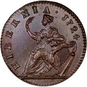 USA Halfpenny Hibernia 1724 KM# 23.1 ∙ HIBERNIA ∙ coin reverse