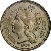 USA III Cents Three Cent Nickel 1872 KM# 95 UNITED STATES OF AMERICA LIBERTY coin obverse