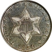 USA III Cents Type 2 1854 KM# 80 UNITED STATES OF AMERICA coin obverse