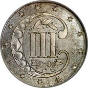 USA III Cents Type 2 1854 KM# 80 III coin reverse