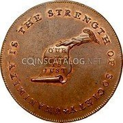 USA Kentucky Cent 1793 KM# Tn70.2 Kentucky Tokens * UNANIMITY IS THE STRENGTH OF SOCIETY OUR CAUSE IS JUST coin obverse
