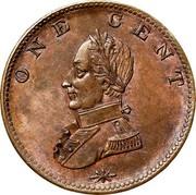 USA One Cent 1783 KM# Tn40 Washington Pieces ONE CENT coin reverse