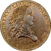 USA One Cent Birch Cent (Pattern) 1792 KM# PnH1 LIBERTY PARENT OF SCIENCE & INDUSTRY coin obverse