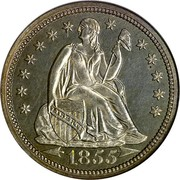 USA One Dime Seated Liberty 1855 KM# 77 LIBERTY coin obverse