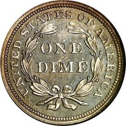 USA One Dime Seated Liberty 1855 KM# 77 UNITED STATES OF AMERICA ONE DIME coin reverse
