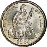 USA One Dime Seated Liberty 1885 KM# A92 UNITED STATES OF AMERICA LIBERTY coin obverse