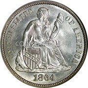 USA One Dime Seated Liberty Dime 1864 S KM# 92 UNITED STATES OF AMERICA LIBERTY coin obverse