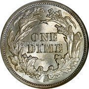 USA One Dime Seated Liberty Dime 1864 S KM# 92 ONE DIME coin reverse