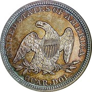 USA Quar. Dol. Seated Liberty 1848 KM# 64.2 UNITED STATES OF AMERICA QUAR. DOL. coin reverse