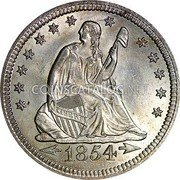 USA Quarter Seated Liberty Quarter 1854 KM# 81 LIBERTY coin obverse