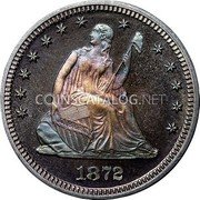 USA Quarter Seated Liberty Quarter 1872 KM# 98 LIBERTY coin obverse