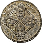 USA Val 24 Real 1828 KM# Tn5.2 American Plantations HISPAN ∙ VAL ∙ 24 ∙ PART ∙ REAL coin reverse