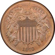 USA 2 Cents Union Shield 1870 KM# 94 IN GOD WE TRUST coin obverse