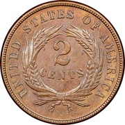 USA 2 Cents Union Shield 1870 KM# 94 UNITED STATES OF AMERICA 2 CENTS coin reverse