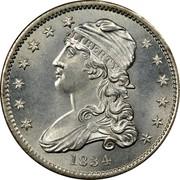 USA 25 C. Liberty Cap Quarter 1834 0 over O KM# 55 LIBERTY coin obverse