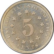 USA 5 Cents Shield Nickel 1878 proof KM# 97 UNITED STATES OF AMERICA 5 CENTS coin reverse