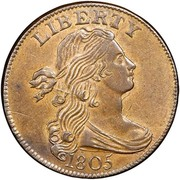 USA Cent Draped Bust 1805 KM# 22 LIBERTY coin obverse