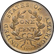 USA Cent Draped Bust 1805 KM# 22 UNITED STATES OF AMERICA ONE CENT 1/100 coin reverse
