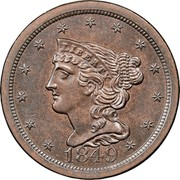 USA Half Cent Braided Hair 1849 large date KM# 70 LIBERTY coin obverse