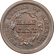 USA Half Cent Braided Hair 1849 large date KM# 70 UNITED STATES OF AMERICA HALF CENT coin reverse