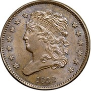 USA Half Cent Classic Head 1832 KM# 41 LIBERTY coin obverse