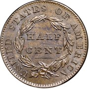 USA Half Cent Classic Head 1832 KM# 41 UNITED STATES OF AMERICA HALF CENT coin reverse