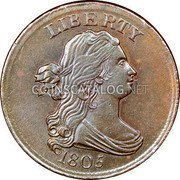 USA Half cent Draped Bust Half Cent 1805 small 5, stemless KM# 33 LIBERTY coin obverse