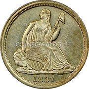 USA Half Dime Seated Liberty Half Dime 1837 large date KM# 60 LIBERTY coin obverse