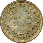 USA Half Dime Seated Liberty Half Dime 1837 large date KM# 60 UNITED STATES OF AMERICA HALF DIME coin reverse