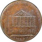 USA Penny 1796 KM# Tn90 New York Theatre THE • THEATRE • AT • NEW • YORK • AMERICA coin reverse