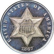 USA Three Cents Silver 3 Cents - Type 3 1867 KM# 88 UNITED STATES OF AMERICA coin obverse