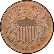USA Two Cents Union Shield 1870 KM# 94 IN GOD WE TRUST coin obverse