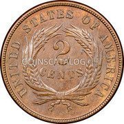 USA Two Cents Union Shield 1870 KM# 94 UNITED STATES OF AMERICA 2 CENTS coin reverse