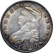 USA 50 C. Capped Bust 1820 Square Base 2 with knob, large date KM# 37 LIBERTY coin obverse