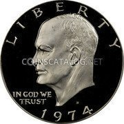 USA One Dollar Eisenhower Dollar 1974 S Proof KM# 203a LIBERTY IN GOD WE TRUST coin obverse