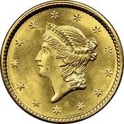USA Dollar Liberty Head - Type 1 1851 KM# 73 LIBERTY coin obverse